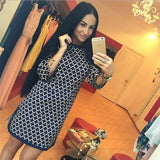 Women's Plaid Straight Slim Casual Quarter Sleeve Dress