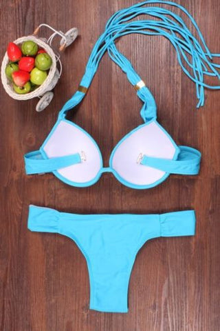 Women's Bikini Set Push-Up Padded Bra Beach Swimwear