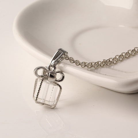 Clear Gift Box Pendant & Necklace