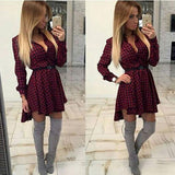 Women's Fashion Small Dots Printed Long Sleeve Shirt Dress