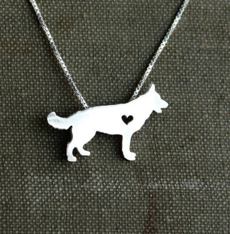 Silver Dog Design Necklace