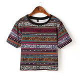 Retro Tribal Short Sleeve Crop Shirt
