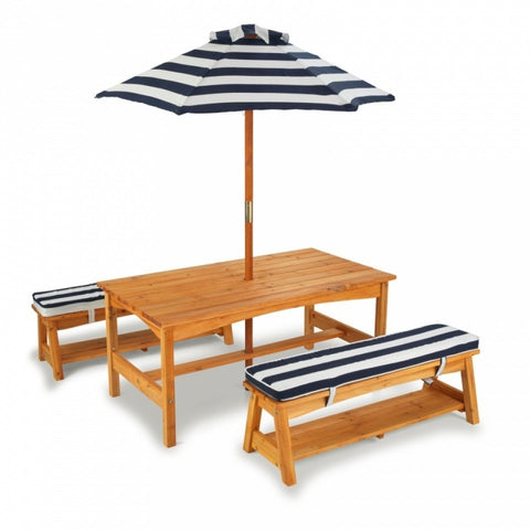 KidKraft Outdoor Table & Bench Set with Umberella - Navy