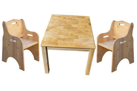 Qtoys Solid Timber Square Table & 2 Toddler Chairs