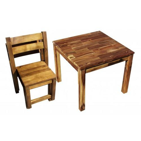 Qtoys Hardwood Table with 2 Stacking Chair
