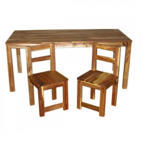 Qtoys Hardwood Rectangular Table with 2 Standard Chairs