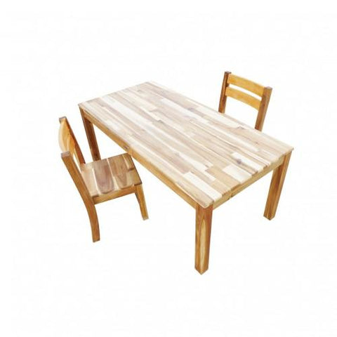 Qtoys Hardwood Rectangular Table with 2 Stacking Chairs