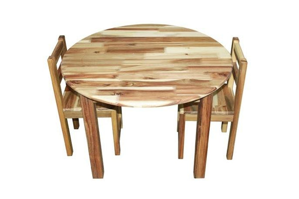Qtoys Acacia Round Table & Standard Chairs - Medium