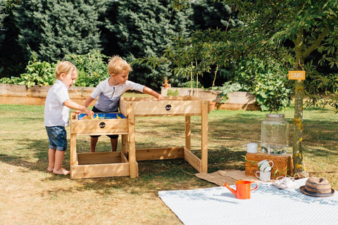plum sandy bay wooden sand & water play tables – swing and play