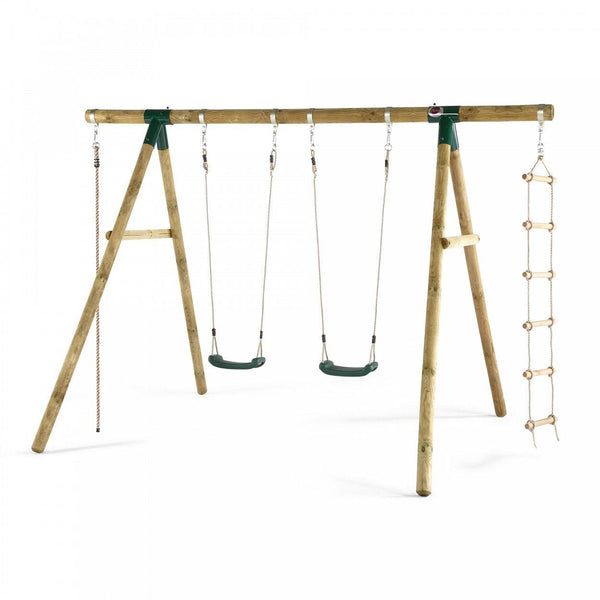 Plum Gibbon Wooden Swing Set - Swing and Play - 1