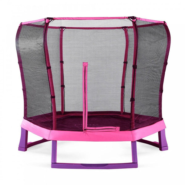 Plum 7ft Junior Trampoline & enclosure - pink - Swing and Play - 1