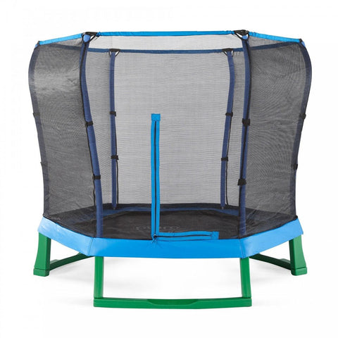 Plum 7ft Junior Trampoline & enclosure - blue - Swing and Play - 1