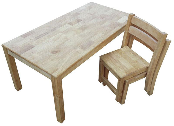 Qtoys Rubberwood Rectangular Table With 2 Stacking Chairs