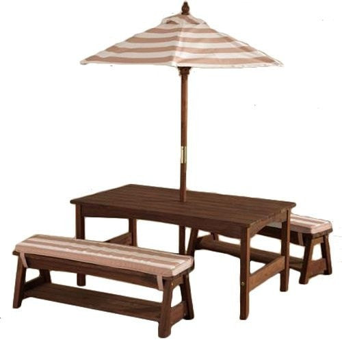 KidKraft Outdoor Table & Bench Set with Umberella - Oatmeal