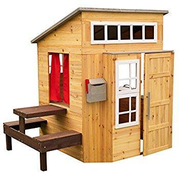 KidKraft Modern Outdoor Wooden Cubby Playhouse.