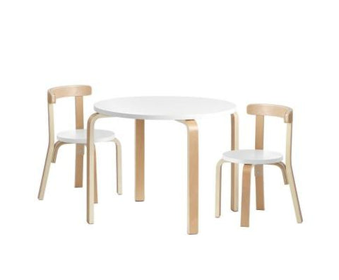 Curve Table & Chairs - Natural/White
