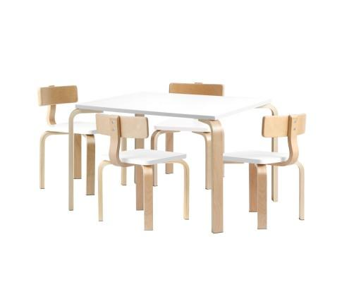 Curve 5 Piece Table & Chairs - Natural/White