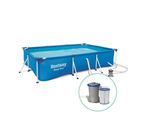 Bestway Rectangular Steel Frame Swimming Pool With Filter Pump