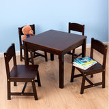 KidKraft Farmhouse Table & 4 Chairs - Espresso