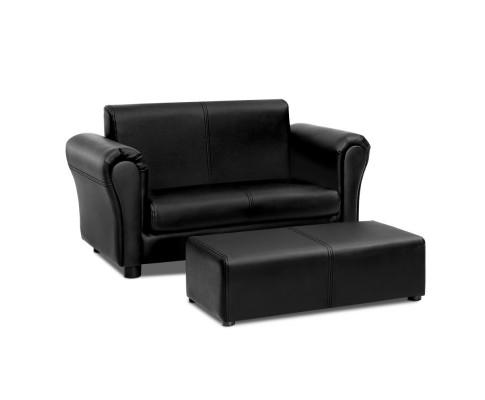 Double Sofa With Foot Stool - Black Faux Leather