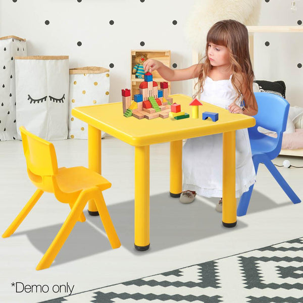 3 Piece Study Table and Chair Set - Yellow