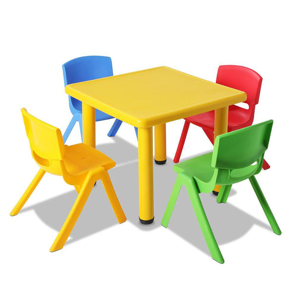 5 Piece Study Table and Chair Set - Yellow