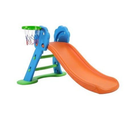 First Slide With Base & Basket Ball Hoop - Blue/Orange