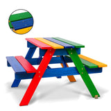 Rainbow Wooden Picnic Bench Set