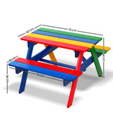 Rainbow Wooden Picnic Table Set with Umbrella