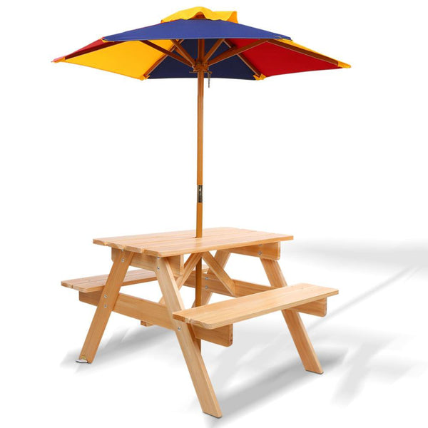Wooden Picnic Table Set with Umbrella