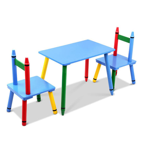 Keezi 3 Piece Wooden Table & Chairs Set - Multi-Color