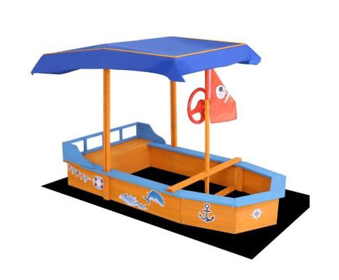 Ahoy Boat Sandpit With Canopy