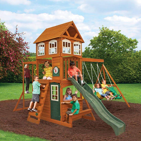 Kidkraft Cranbrook Wooden Swing Set Play House.