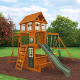 Kidkraft Cranbrook Wooden Swing Set Play House