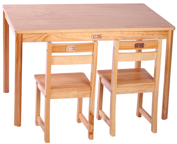 TikkTokk Little Boss Table & Chairs Set - Rectangular Natural