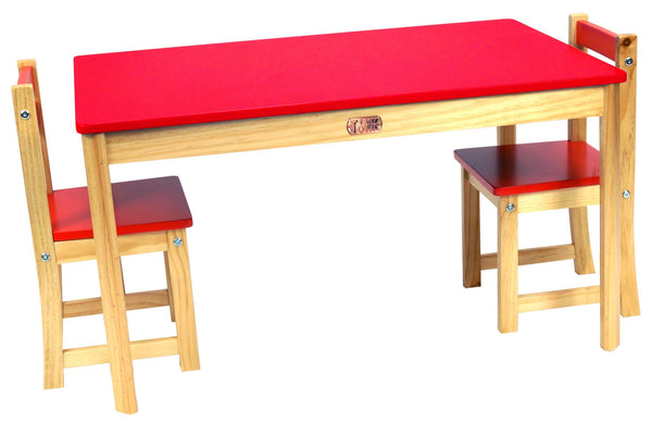TikkTokk Little Boss Table & Chairs Set - Rectangular Red