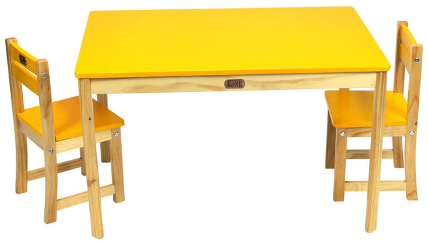TikkTokk Little Boss Table & Chairs Set - Rectangular Yellow