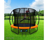 10ft Orange Trampoline with Enclosure & Basketball Hoop