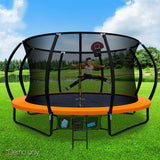 14ft Orange Trampoline with Enclosure & Basketball Hoop