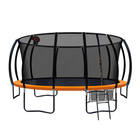 16ft Orange Trampoline with Enclosure & Basketball Hoop