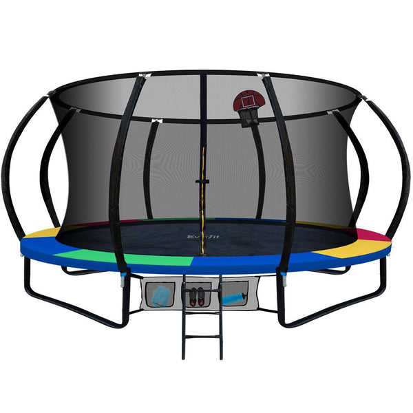 16FT Trampoline With Basketball Hoop Rainbow