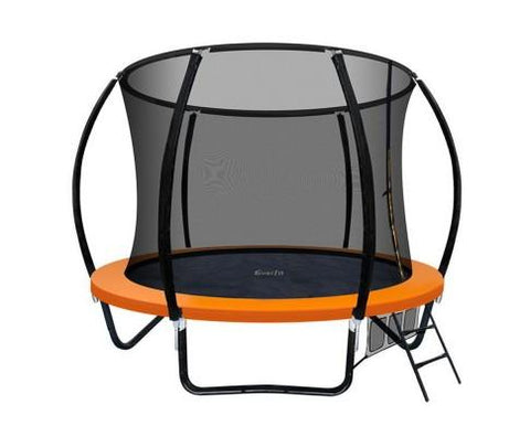 8ft Orange Trampoline with Enclosure