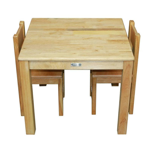 Qtoys Solid Rubber Wood Square Table & Chairs Set