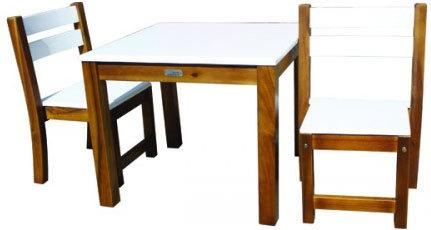 Qtoys White Top Timber Table & Chairs