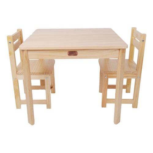 TikkTokk Little Boss Table & Chairs Set - Square Natural