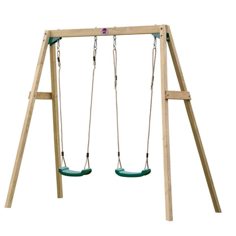 Plum Wooden Double Swing Set - Swing and Play - 1
