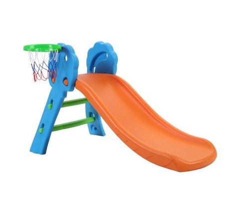 First Slide With Basket Ball Hoop - Blue/Orange