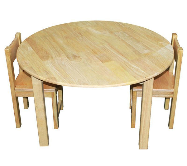 Qtoys Rubber Wood Round Table & Standard Chairs - Large