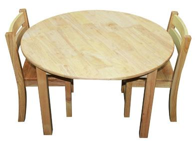 Qtoys Rubber Wood Round Table & Stacking Chairs - Large