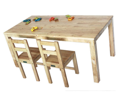 Qtoys Rubberwood Rectangular Table & Standard Chairs